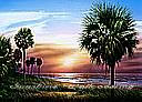 Palmetto Sunrise york wallpaper tropical  wall mural