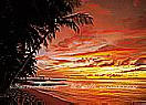 Tobago Sunset  Large palm tree wall mural
