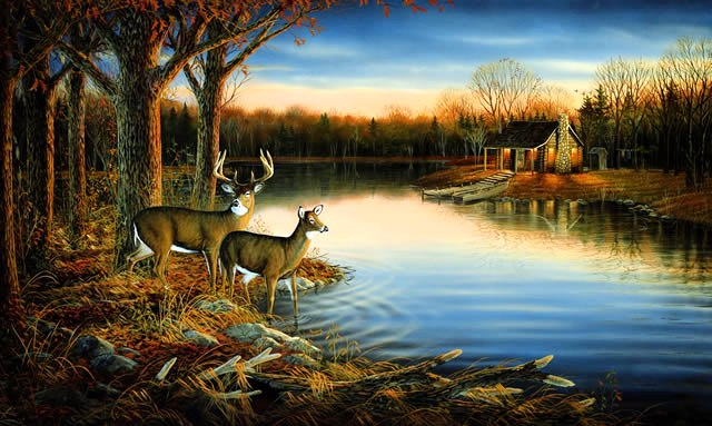 Ra0169m tranquil evening wall mural large for Deer landscape wall mural